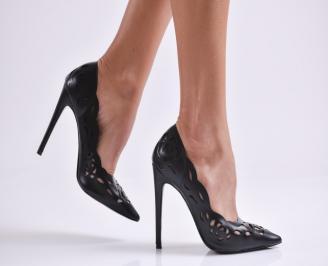 Дамски елегантни обувки еко кожа черни OXBL-27002