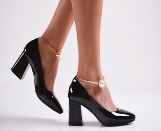 Дамски елегантни обувки еко кожа/лак черни SQMV-27069