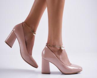 Дамски елегантни обувки еко кожа/лак розови VOSW-27070