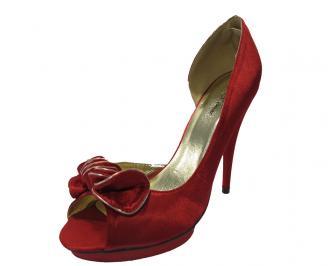 Дамски елегантни  обувки сатен червени EIQF-11762