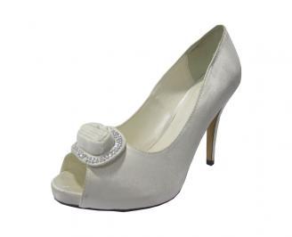 Дамски елегантни обувки сатен сребристи MSFS-11768