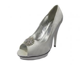 Дамски елегантни обувки сатен сиви YPHO-11769