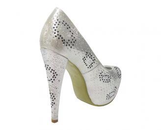 Дамски елегантни обувки естествена кожа сребристи CEOQ-11870
