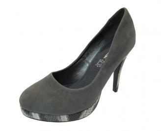 Дамски елегантни обувки еко велур сиви PVJU-12128
