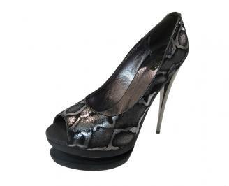 Дамски елегантни обувки текстил черни DRZB-12140