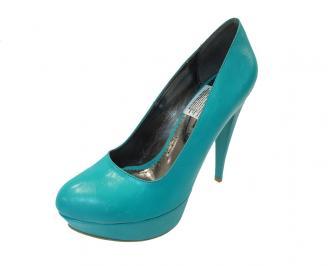 Дамски елегантни обувки еко кожа сини MKQD-12150
