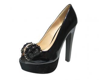 Дамски елегантни  обувки еко кожа /лак черни THGQ-12445
