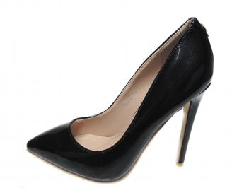 Дамски  елегантни обувки еко кожа/лак черни OZUO-17393