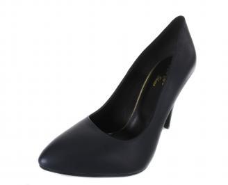 Дамски елегантни обувки естествена кожа тъмно сини SWHO-17484