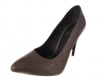 Дамски елегантни обувки естествена кожа кафяви TBHS-17644