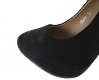 Дамски елегантни обувки еко велур черен HXGA-18185