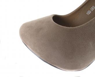 Дамски елегантни обувки еко велур бежово QYQJ-18186