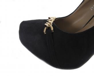 Дамски елегантни обувки еко велур черни FCKZ-18187