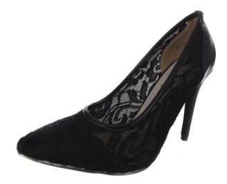 Дамски елегантни обувки текстил черни YWEE-18237