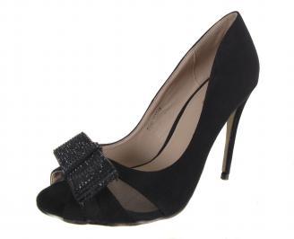 Дамски елегантни обувки еко кожа/набук черни QCUF-18286