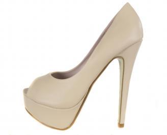Дамски елегантни обувки еко кожа бежови HSZF-18291