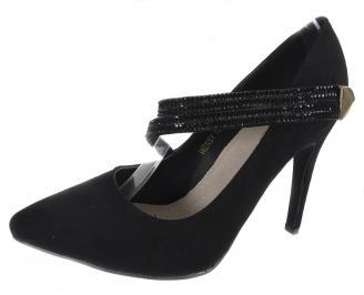 Дамски елегантни обувки еко велур черни TIMX-18318