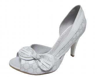 Дамски елегантни обувки бели естествена кожа CVFL-18849