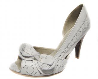 Дамски елегантни обувки бели естествена кожа QKRW-18874