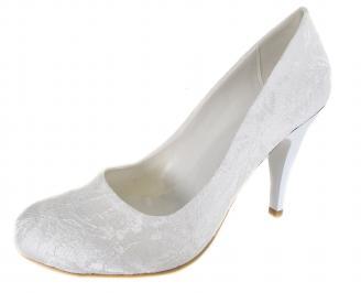 Дамски елегантни обувки бели дантела XIYY-19109