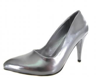Дамски елегантни  обувки сребристи еко кожа UCND-19123