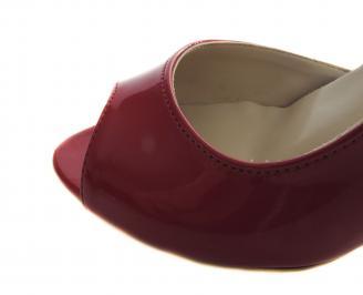 Дамски елегантни обувки червени еко кожа/лак QNSO-19125