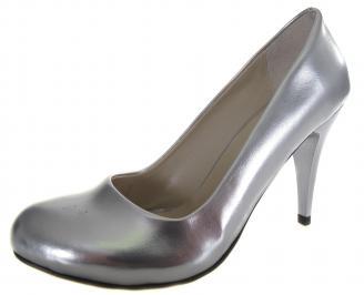 Дамски елегантни обувки сребристи еко кожа/лак KVRK-19126