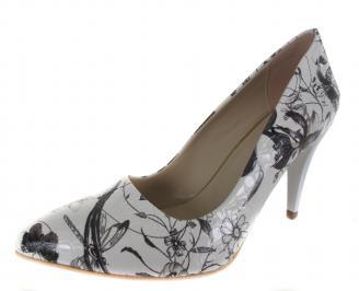 Дамски елегантни обувки на ток бяло / черно еко кожа ZEJW-19164