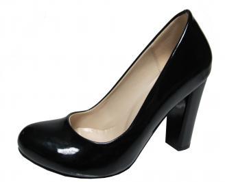 Дамски елегантни обувки на ток еко кожа /лак черни OFSV-19973
