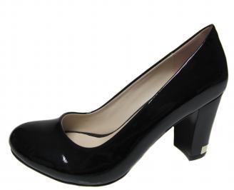 Дамски елегантни обувки на ток еко кожа/лак черни NSZX-19974