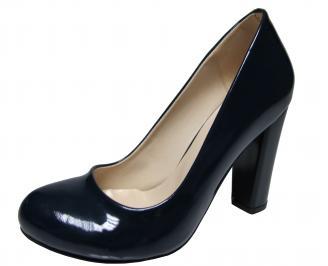 Дамски елегантни обувки на ток еко кожа/лак тъмно сини VEEW-19975
