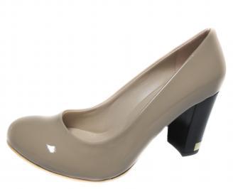 Дамски елегантни обувки на ток еко кожа/лак бежови CKPS-19979