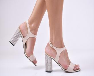 Дамски елегантни сандали еко кожа пудра HEDB-1011204