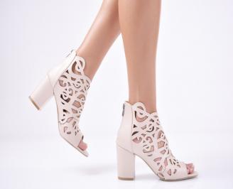 Дамски елегантни сандали еко кожа пудра WTLB-1011283