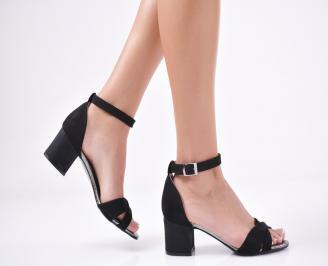 Дамски елегантни сандали  велур черни JABJ-1011285