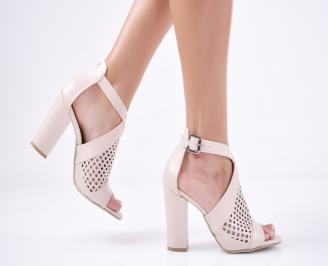 Дамски елегантни сандали еко кожа пудра YFGM-1011287