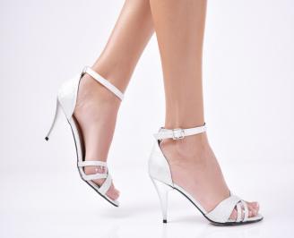 Дамски  елегантни сандали брокат сребристи UHTB-1011298