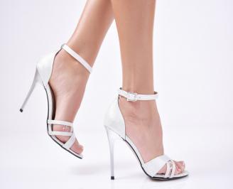 Дамски  елегантни сандали брокат сребристи ZAAP-1011302