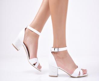 Дамски  елегантни сандали еко кожа  бели QMBJ-1011304