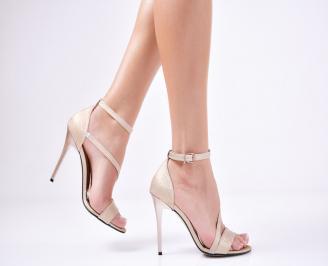 Дамски елегантни сандали текстил/брокат златисти ECSZ-1011359