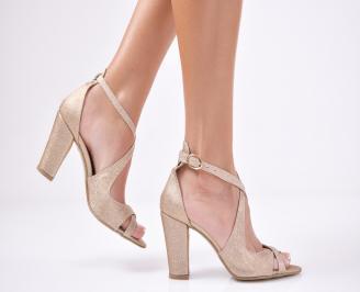 Дамски елегантни сандали текстил/брокат златисти BLDJ-1011446