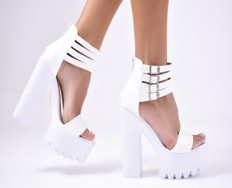 Дамски  елегантни сандали еко кожа  бели CWYT-1012244