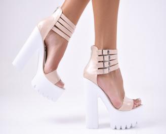 Дамски елегантни сандали естествена  кожа бежови RBLU-1012245