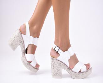 Дамски  елегантни сандали еко кожа  бели ZEQC-1012335