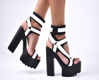 Дамски елегантни сандали  еко кожа/текстил черни CFOM-1012665