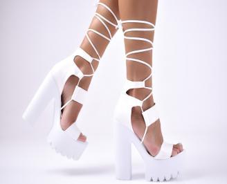Дамски елегантни сандали  еко кожа/текстил бели CGQA-1012672