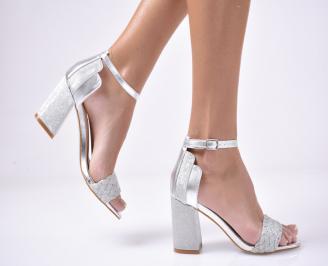 Дамски  елегантни сандали  текстил сребристи HVPG-1013539