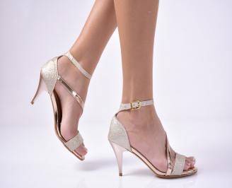 Дамски елегантни сандали  текстил/ситен брокат пудра KYTT-1013556