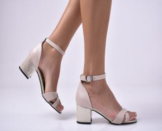 Дамски елегантни сандали еко велур бежови. EZOA-1013661