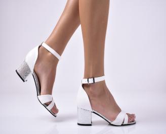 Дамски елегантни сандали еко кожа бели OYFP-1013667